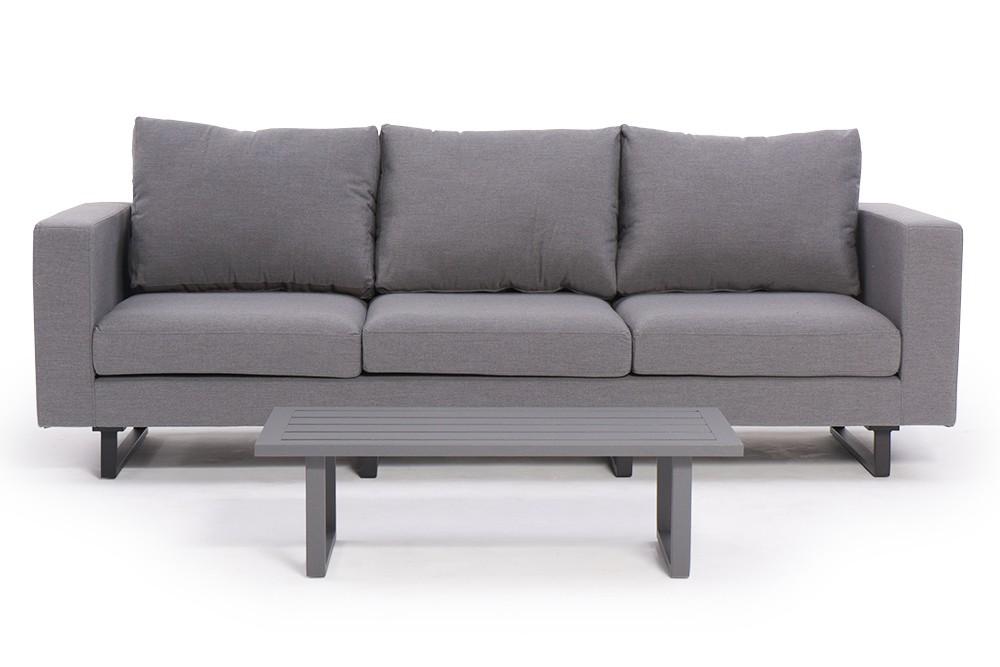 allwetter 3er sofa capri grau mit hoher r ckenlehne wasser wetterfeste gartenm bel. Black Bedroom Furniture Sets. Home Design Ideas
