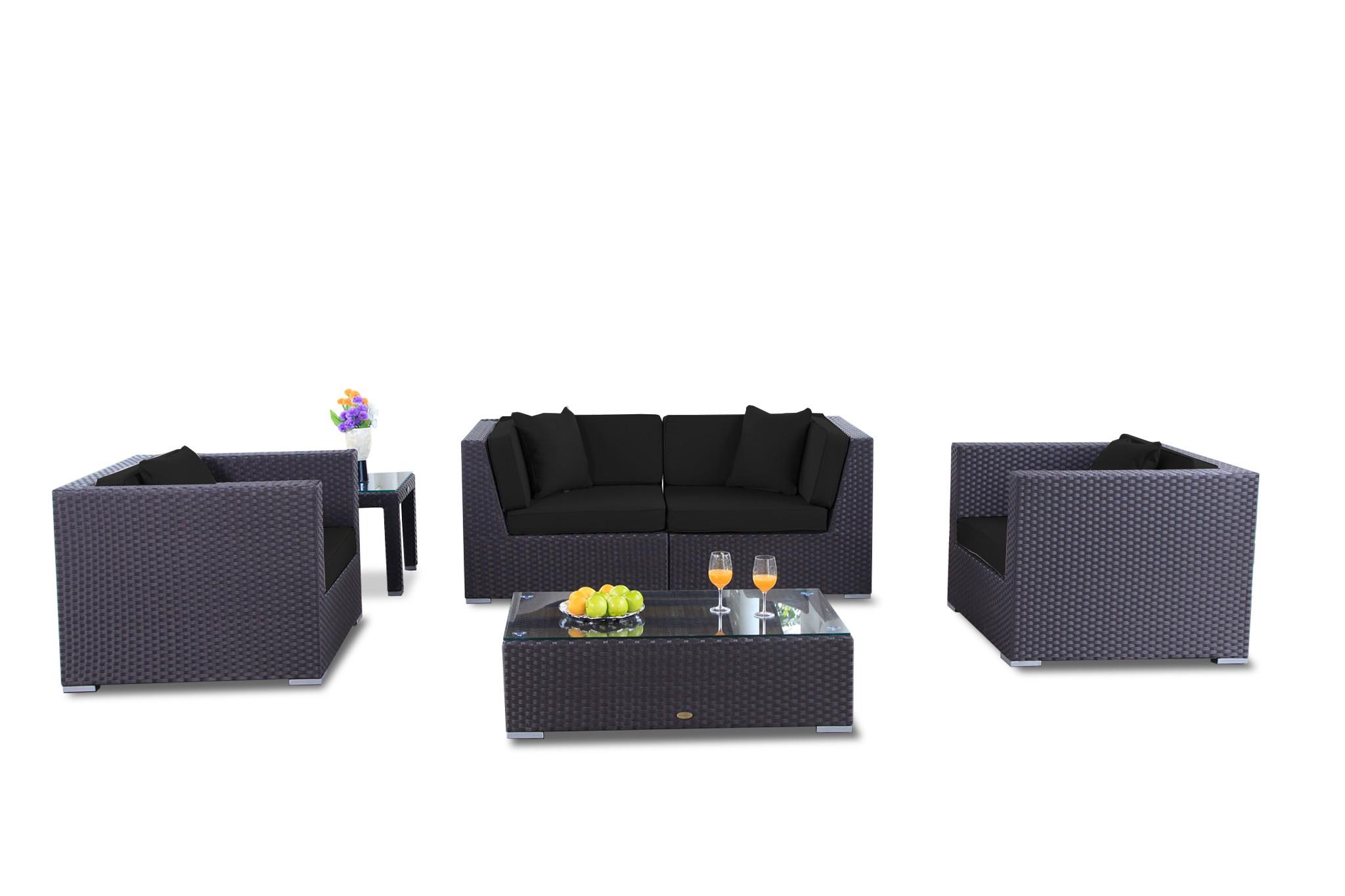 Rattan Gartenmöbel Lounge Bilbao in Schwarz