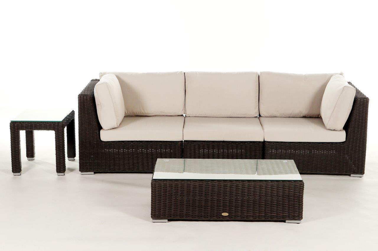 Rattan Gartenmöbel Lounge Birmingham in Braun mit 3 Sitzplätzen ...