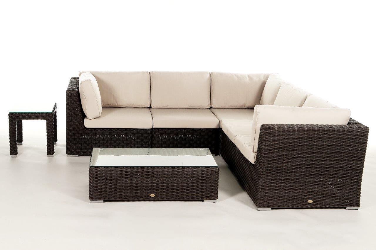 rattan gartenm bel lounge birmingham in braun mit 5. Black Bedroom Furniture Sets. Home Design Ideas