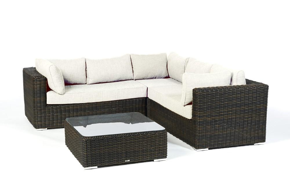 Rattan Gartenmöbel Lounge Bolero Braun Überzug Beige