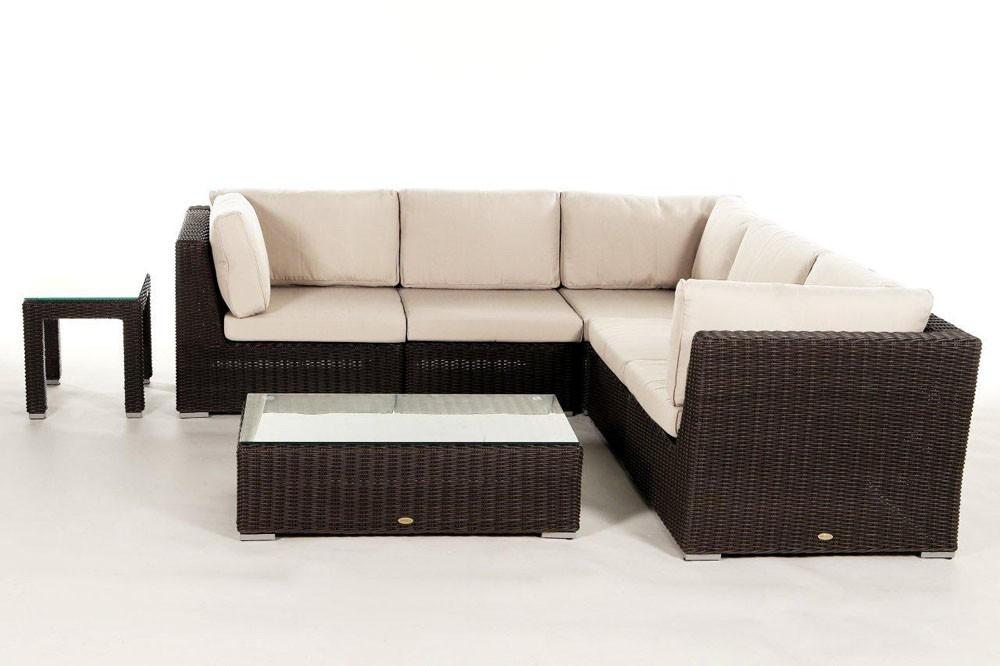 Rattan gartenm bel lounge birmingham in braun f r terrasse garten oder balkon - Gartenmobel lounge rattan ...