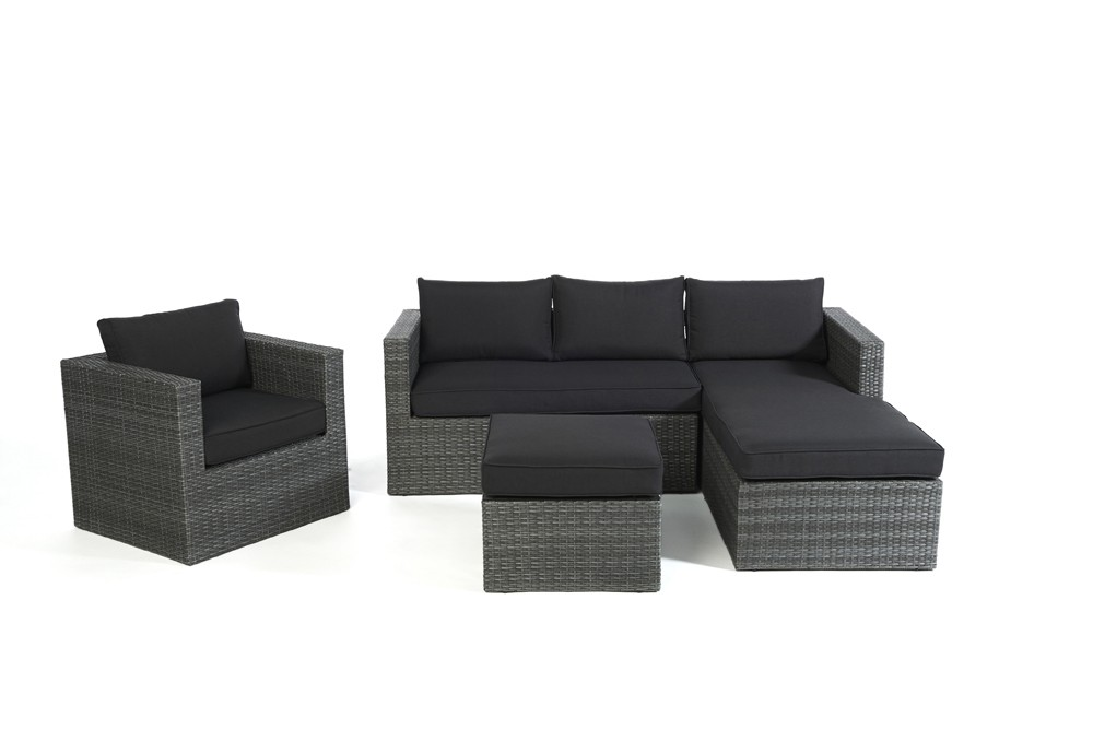 rattan lounge polster grau. Black Bedroom Furniture Sets. Home Design Ideas