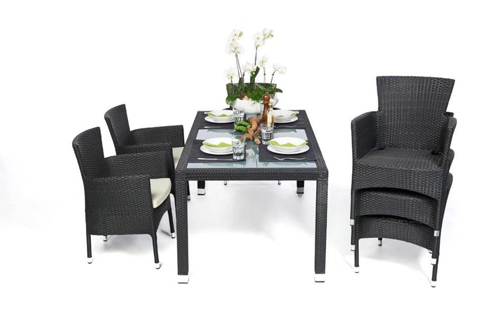 Rattan gartentisch und st hle california schwarz for Rattan lounge mit esstisch