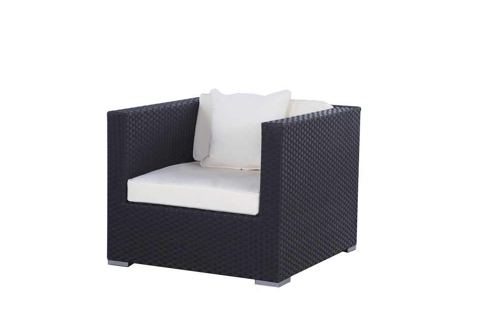 rattan lounge cabana schwarz modernes gartenm bel set f r sitzplatz und terrasse. Black Bedroom Furniture Sets. Home Design Ideas