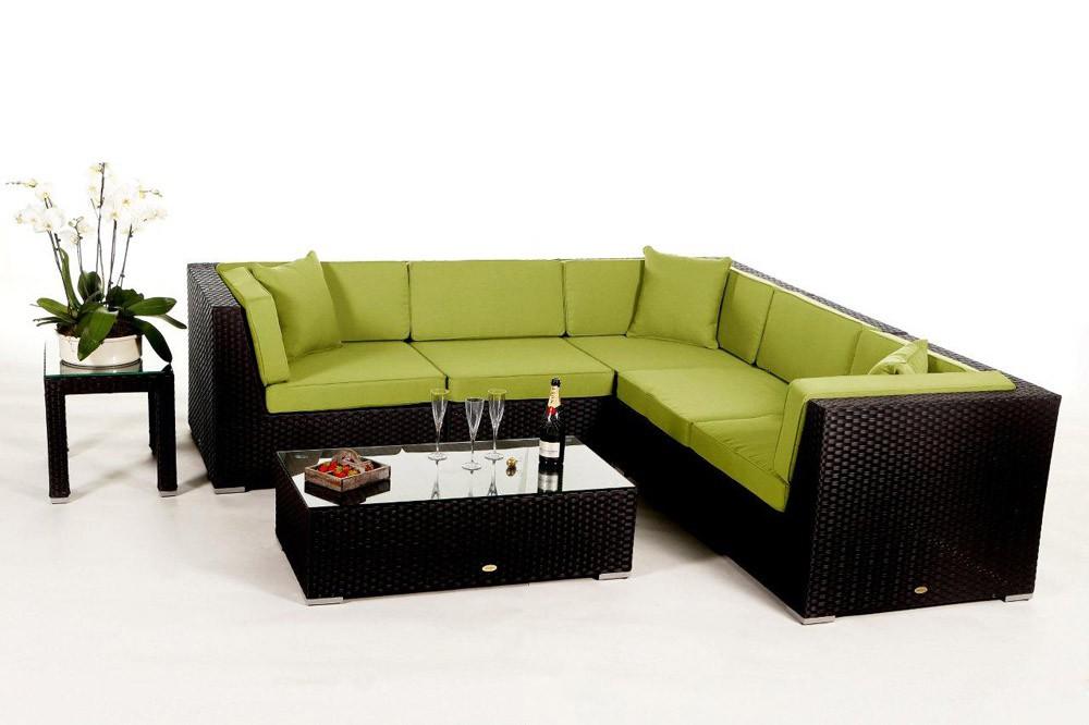 Rattan lounge  Shangrila Lounge in Schwarz - Rattan Gartenmöbel Set für Terrasse ...
