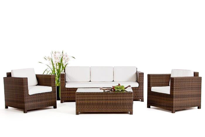 rattan gartenm bel lounge luxury 3er sofa braun. Black Bedroom Furniture Sets. Home Design Ideas