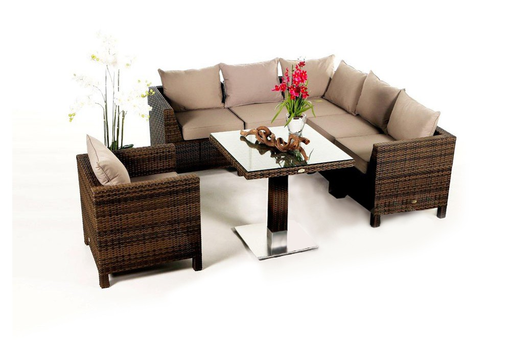pandora rattan lounge mixed braun ein 8 teiliges gartenm bel set geeignet f r terrasse. Black Bedroom Furniture Sets. Home Design Ideas