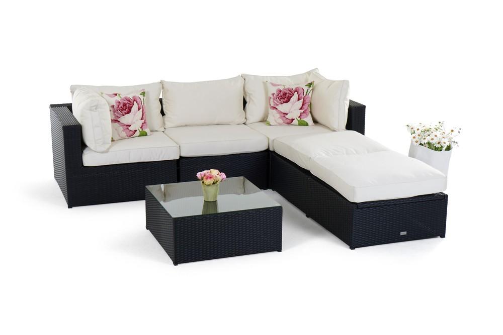rattan lounge gartenm bel kuala schwarz. Black Bedroom Furniture Sets. Home Design Ideas