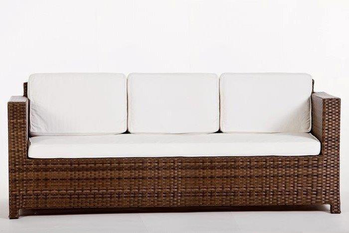 Rattan Gartenmöbel Lounge Luxury Deluxe 3er Sofa Braun