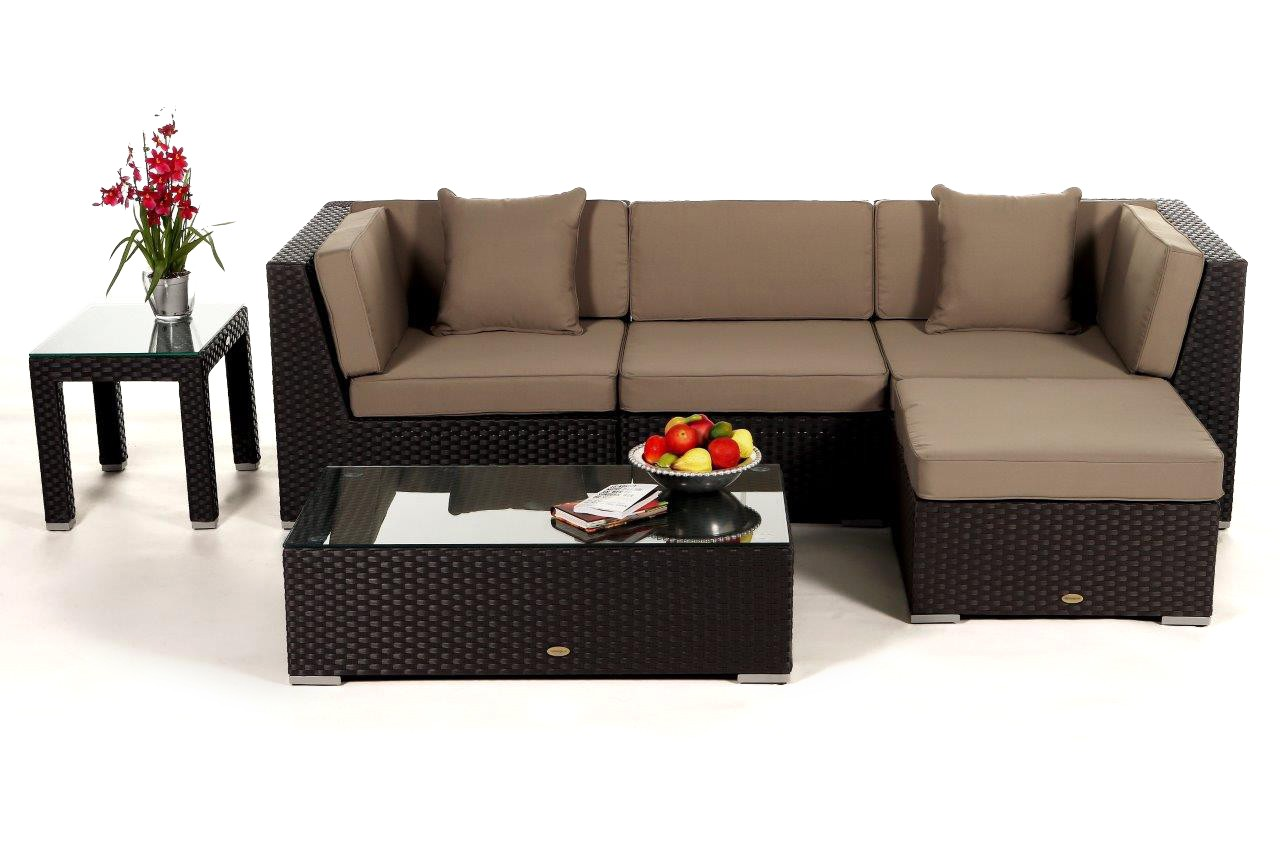 Leonardo lounge in braun rattan gartenm bel set f r for Lounge gartenmobel rattan