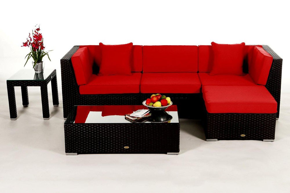 leonardo lounge in schwarz rattan gartenm bel set f r terrasse garten oder balkon. Black Bedroom Furniture Sets. Home Design Ideas
