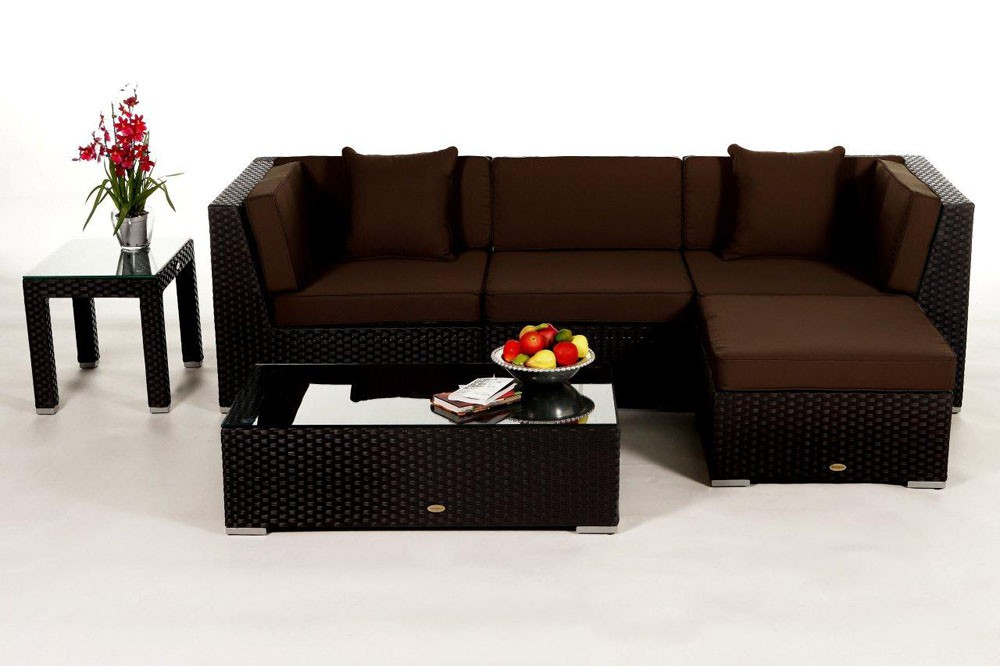 rattan lounge schwarz. Black Bedroom Furniture Sets. Home Design Ideas