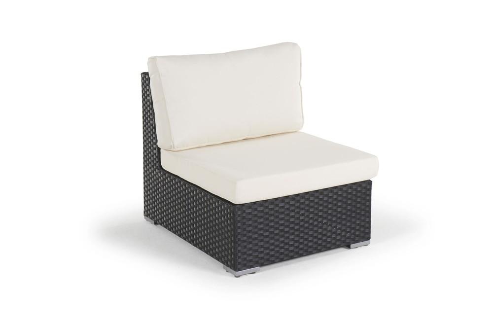 Rattan Lounge Long Beach Gartenmöbel Set schwarz