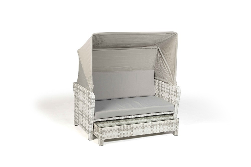 Rattan lounge chair sonnenliege lorena grau weiss for Lounge gartenmobel rattan
