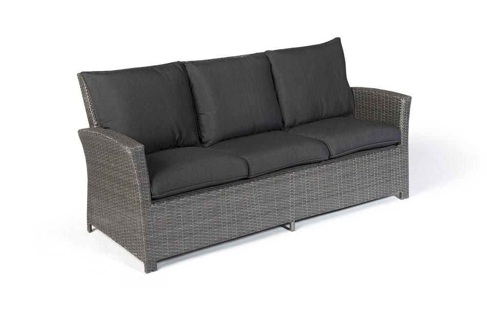 Lucy Rattan Lounge Dining Gartenmöbel 3er Sofa mix grau => Gartenmobel Rattan Grau