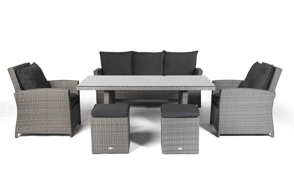 Lucy Rattan Lounge Gartenmöbel Tisch Set mix grau