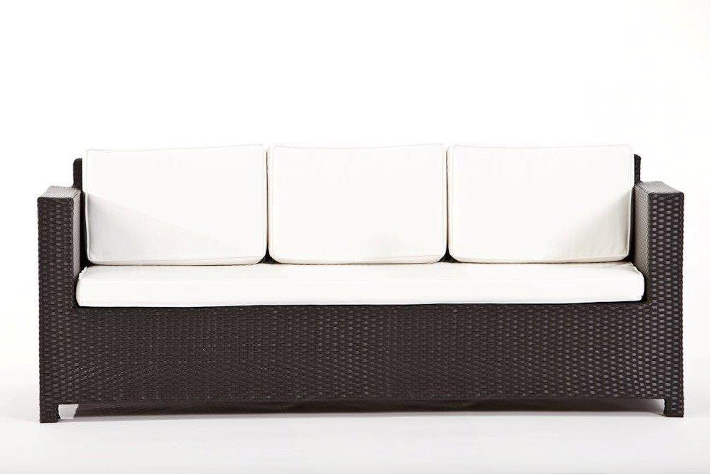 Rattan Gartenmöbel Lounge Luxury Deluxe 3er Sofa schwarz