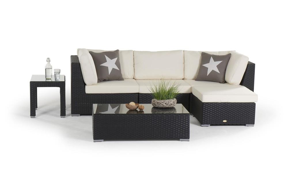 Rattan Lounge Melrose Gartenmöbel Set schwarz