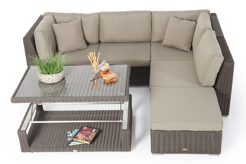 Rattan lounge set braun  multifunktional -rattan lounge - Tisch höhenverstellbar - stella - braun
