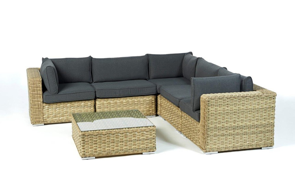 rattan gartenm bel lounge mykonos in sand f r terrasse garten oder balkon. Black Bedroom Furniture Sets. Home Design Ideas