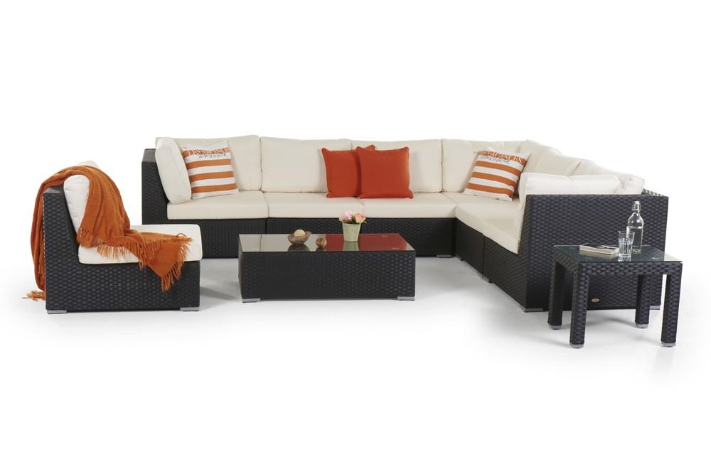 rattan lounge newcastle gartenm bel set schwarz. Black Bedroom Furniture Sets. Home Design Ideas