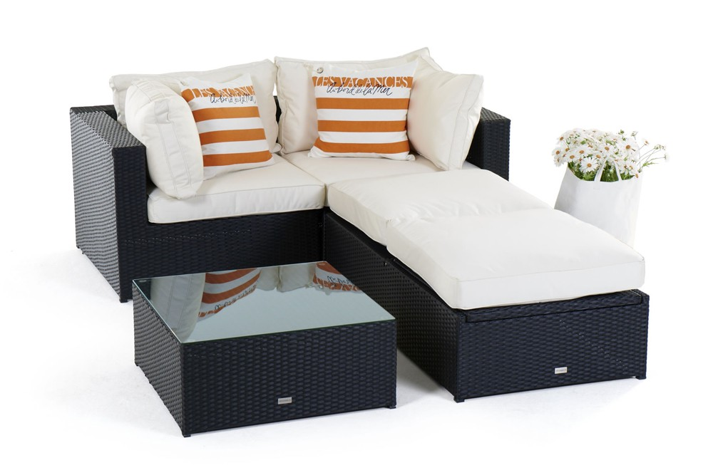 rattan lounge gartenm bel panda schwarz. Black Bedroom Furniture Sets. Home Design Ideas