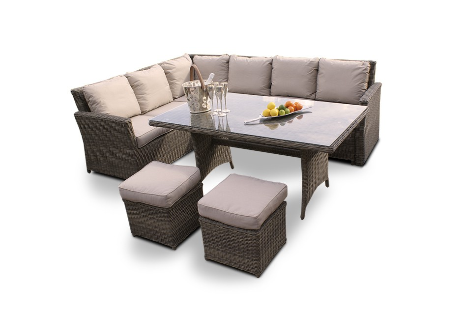 gartenm bel tischset eckbank broadway rattan lounge dining natural round. Black Bedroom Furniture Sets. Home Design Ideas