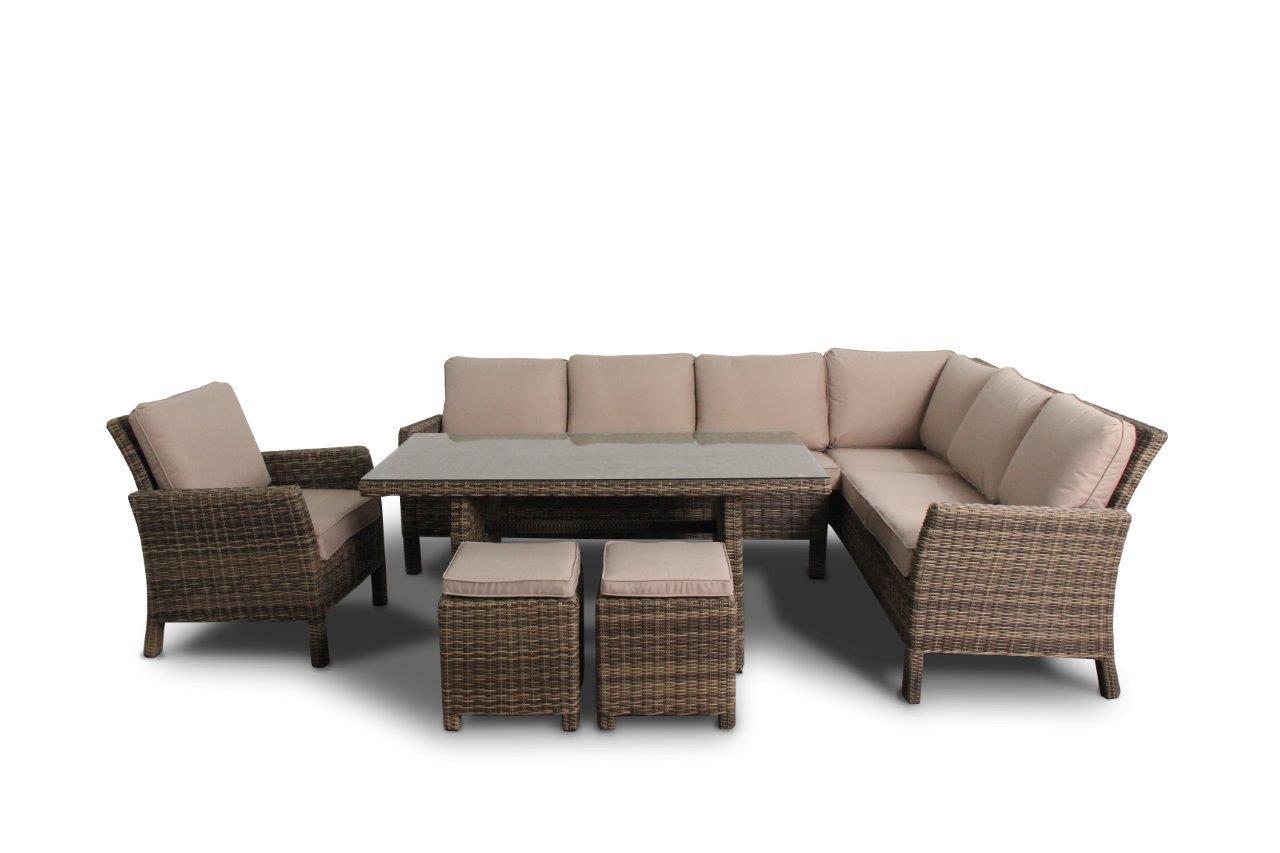 Manchester Rattan Lounge Rattan Tisch Sitzgruppe natural round