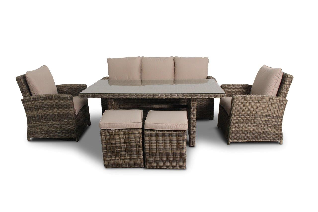 rattan gartentisch rattan gartenm bel lounge dining lucy natural round. Black Bedroom Furniture Sets. Home Design Ideas