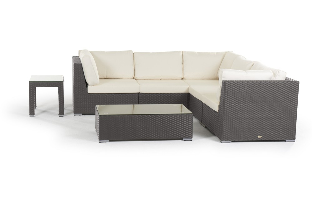 Rattan lounge long beach gartenm bel set braun for Lounge set rattan gunstig