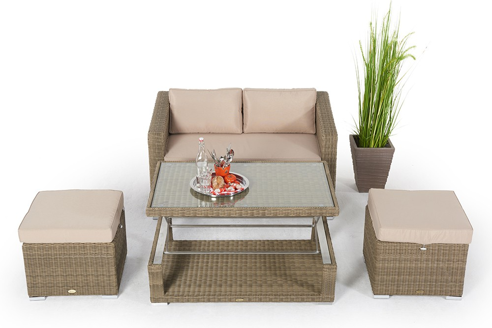 rattan lounge mit h henverstellbarem rattan tisch. Black Bedroom Furniture Sets. Home Design Ideas