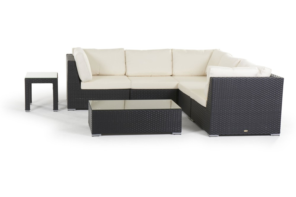 Rattan Lounge Long Beach Gartenmöbel Set schwarz