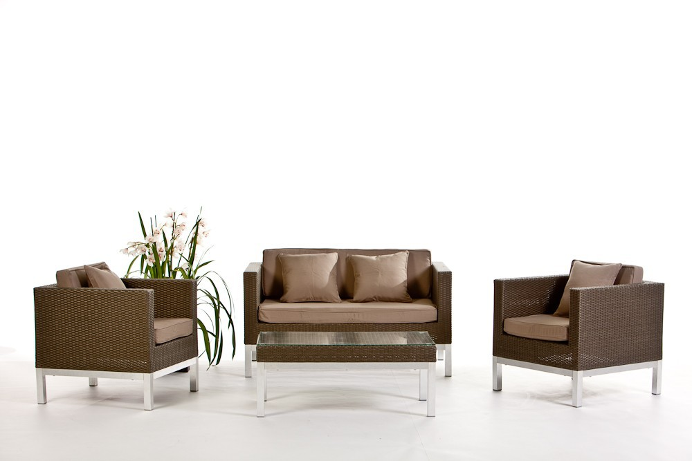 Rattan Lounge Opera - Gartenmöbel Set mit aufgerautem Rattangeflecht ...