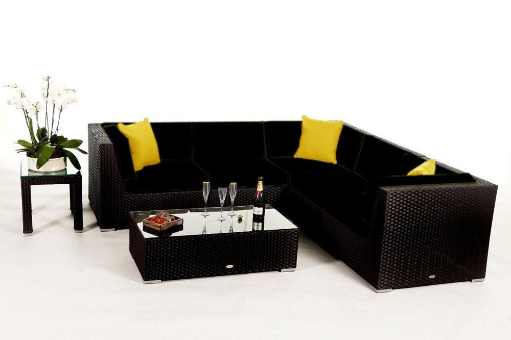 Rattan lounge schwarz  Shangrila Lounge in Schwarz - Rattan Gartenmöbel Set für Terrasse ...