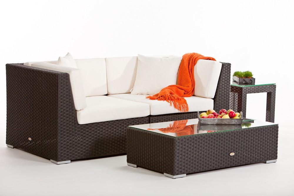 Rattan Gartenmöbel Sitzgruppe Individual Lounge mit Sonnenschirm