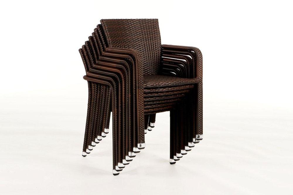 Stuhl garten tisch rattan tischset braun - Outdoor stuhle stapelbar ...
