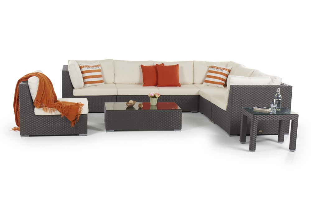 rattan lounge newcastle gartenm bel set dunkel braun. Black Bedroom Furniture Sets. Home Design Ideas