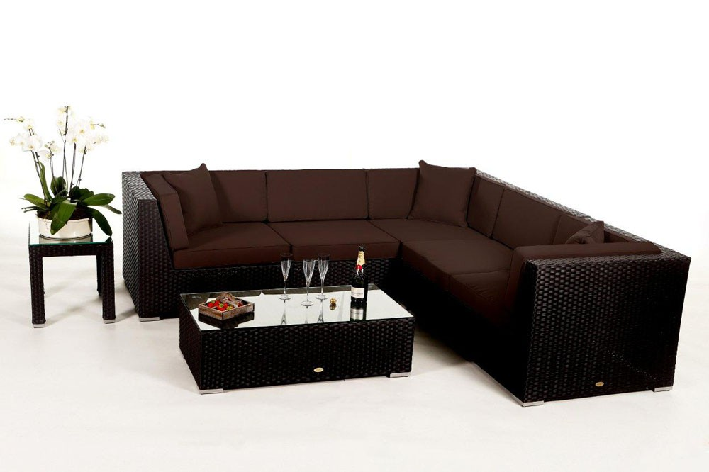 shangrila lounge in braun rattan gartenm bel set f r terrasse garten oder balkon. Black Bedroom Furniture Sets. Home Design Ideas