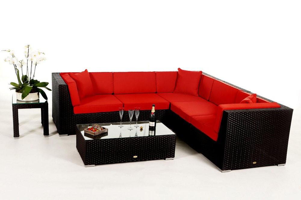shangrila lounge in schwarz rattan gartenm bel set f r terrasse garten oder balkon. Black Bedroom Furniture Sets. Home Design Ideas
