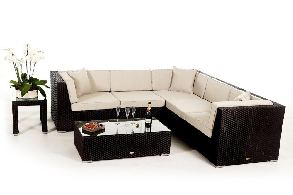 Shangrila lounge in schwarz rattan gartenm bel set f r for Lounge gartenmobel rattan