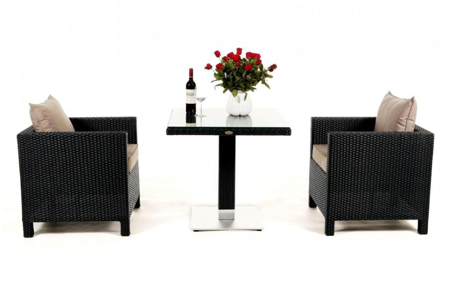 Rattan Möbel Garten Tisch Stühle Sessel Balcony schwarz