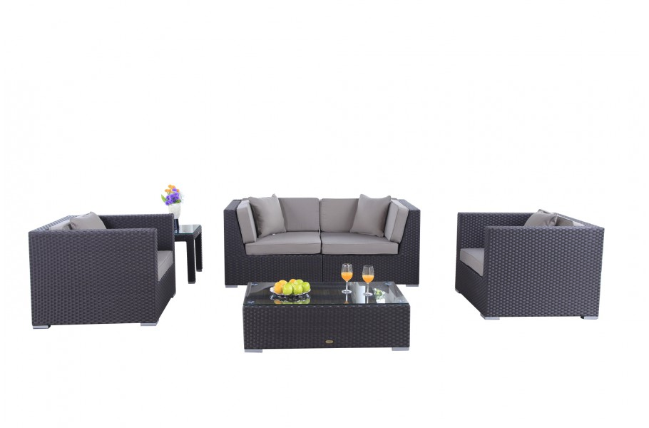 rattan gartenm bel lounge bilbao in braun. Black Bedroom Furniture Sets. Home Design Ideas