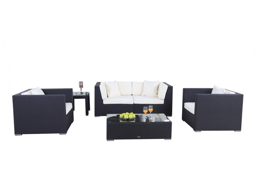 rattan gartenm bel lounge bilbao in schwarz. Black Bedroom Furniture Sets. Home Design Ideas