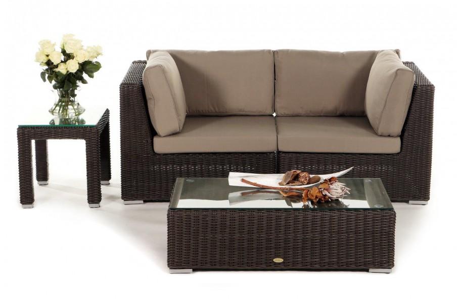 Rattan Gartenmöbel Lounge Birmingham in Braun mit 2 Sitzplätzen ...
