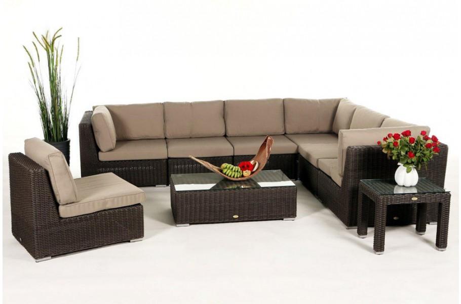 rattan gartenm bel lounge birmingham in braun f r terrasse garten oder balkon. Black Bedroom Furniture Sets. Home Design Ideas