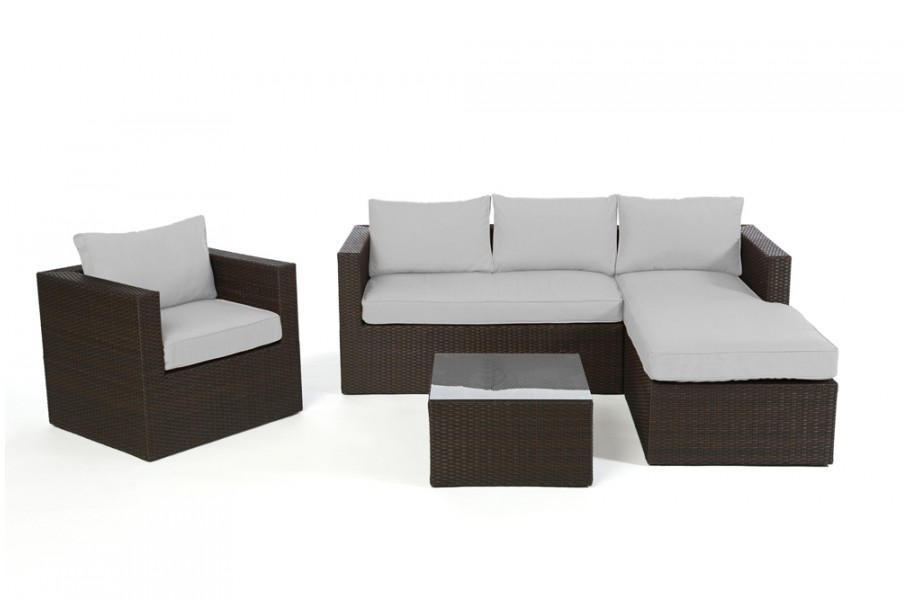 berzug grau f r brooklyn rattan lounge braun. Black Bedroom Furniture Sets. Home Design Ideas