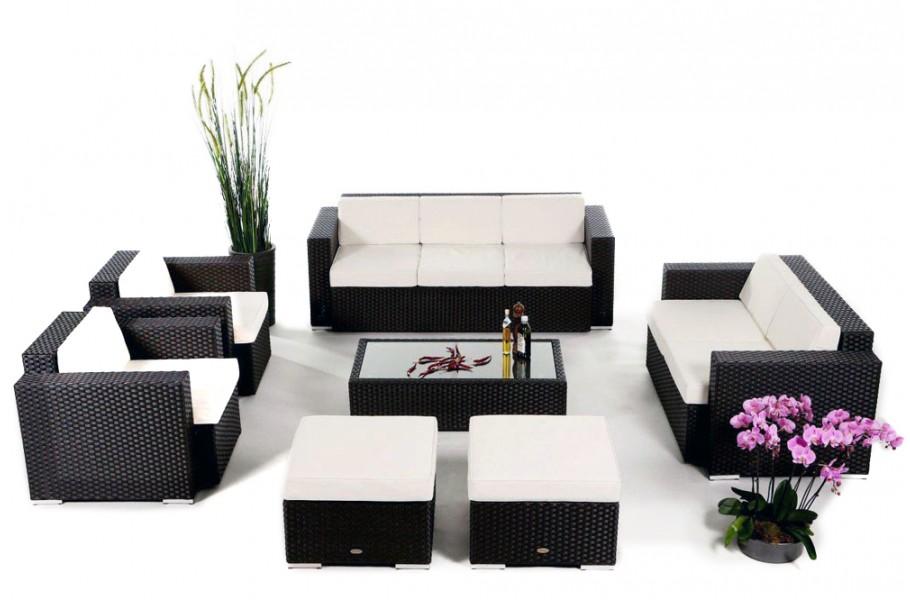 Diana Rattan Gartenmöbel Lounge Schwarz