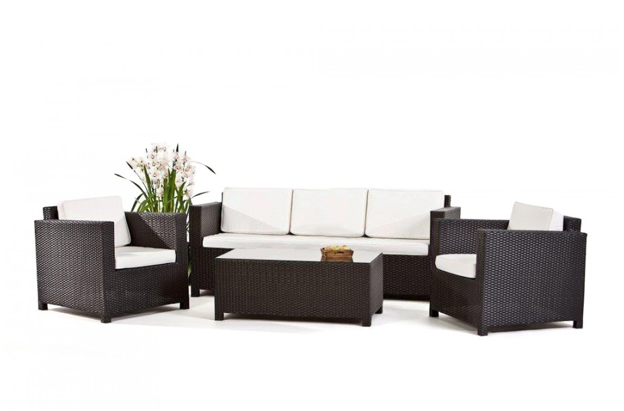 rattan gartenm bel lounge luxury 3er sofa schwarz. Black Bedroom Furniture Sets. Home Design Ideas