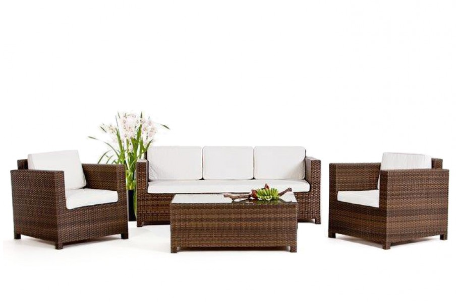 Rattan Gartenmöbel Lounge Luxury 3er Sofa Braun